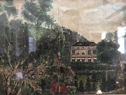 Ilolan kartanon vanha päärakennus. Adolf Wilhelm Boije af Gennäs maalama akvarelli 1850 luvulta.