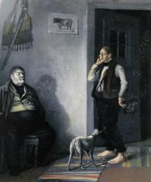 """Kapteeni Johan Adolf Möllersvärd (1784-1868) talomiehensä kanssa Ilolan Kartanossa. Kapteenia kutsuttiin """"kapten Tunna"""" (kapteeni tynnyri) ja hänen veljensä Gustaf Reinholdia """"Tunna kapten"""" (kapea kapteeni) -Öljymaalaus Johan Knutson 1840-luvulta."""