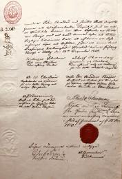 Köpebrev för Illby Gård 1850. Gården såldes av släkten Schulman på auktion.