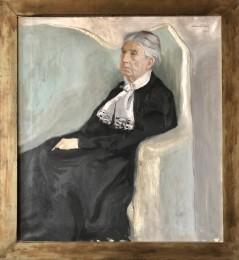 Anna Charlotta Mathilda Boije af Gennäs (1816-1908). Oljemålning av Alvar Cawén. Född Grundelstierna, adliga ätten nr 1612, på Olhamra gård i Vallentuna, död på Illby 4.2.1908.